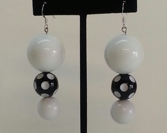 Mod style polka dot vintage earrings