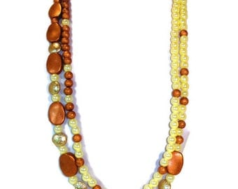 Asymmetric Copper-tone Bead Necklace