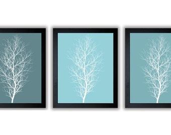 Tree Wall Decor Tree Print Set of 3 Teal Trees Abstract Art Modern Minimalist Print Tree Bathroom