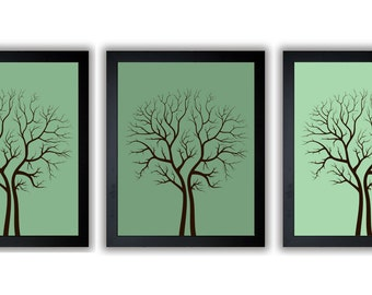 Tree Art Tree Print Abstract Tree Trees Mint Green Set of 3 Tree Art Print Wall Decor Bathroom Modern Minimalist