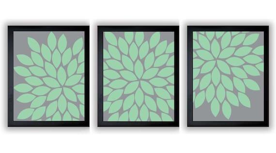 flower print mint green grey gray chrysanthemum flower set of