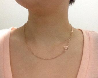 14K Rose Gold Sideways Cross Necklace