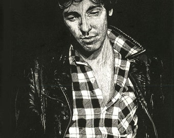 Original scratchboard drawing Bruce Springsteen ( Darkness era )