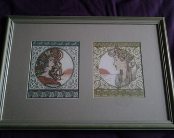 mucha embroidered framed picture