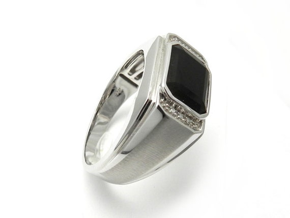 black onyx mens ring 14kt white gold by panoha