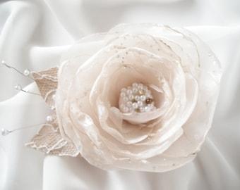 Bridal Blush Organza Flower Hair Clip Flower Fascinator  Bride Wedding Accessories