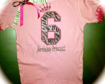 6th Birthday Shirt. Zebra pink Black birthday shirt. Girl's Rhinestone T-Shirt. 3T, 4T, 5T, 6 , 7, 8. Pink Tutu Bling Birthday Top.