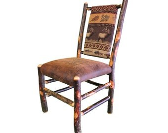 Rustic Hickory Upholstered Seat and Back Dining Chair shown with Elk Ridge Fabric
