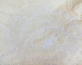 Raw silk fabric with silk thread work