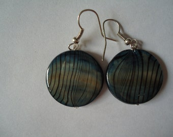 Blue, green, and brown striped glass earrings.