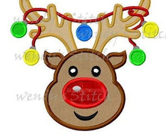 Christmas reindeer ornament lights machine embroidery digital applique