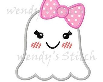 Halloween girl ghost applique machine embroidery design