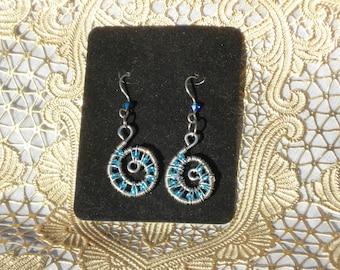 Blue Nautilus Earrings