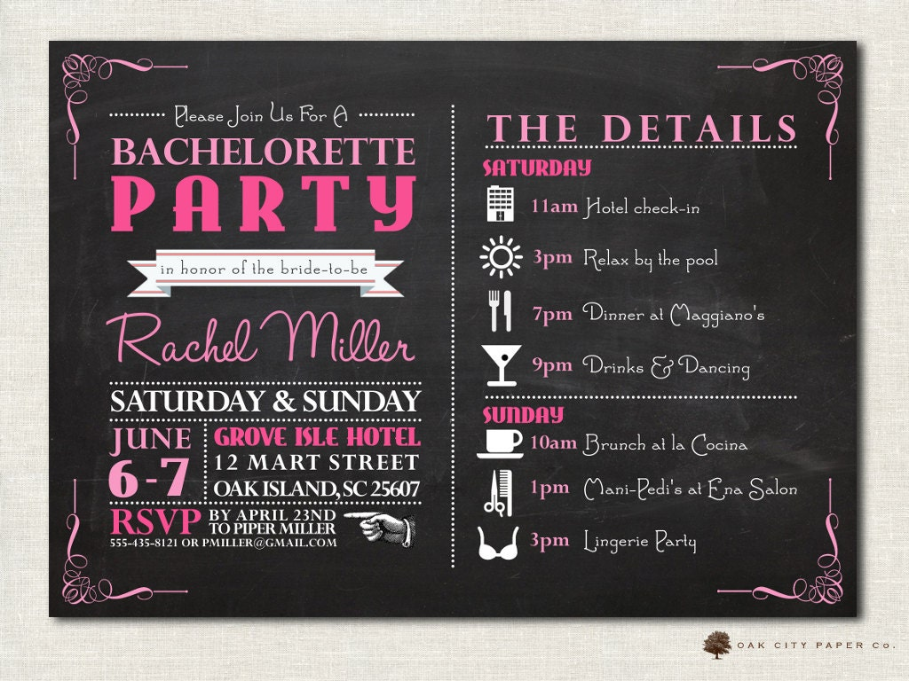 Bachelorette Invitation Bachelorette Party Invitation – Invitation Bachelorette Party