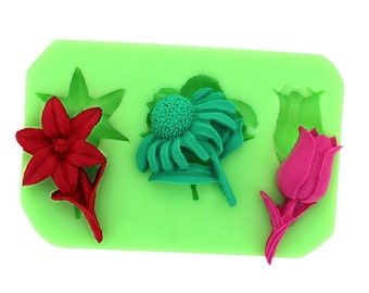 Sunflower Tulip Embossing Pad Polymer Clay Mold Flexible Silicone Mould Candle Candy Cake Fimo Resin Crafts diy Mold in Handmade