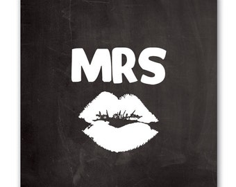 Canvas Wall Art, Mrs. with Kiss