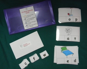 CVC Words Beginning sounds-Teacher Made Literacy Game-Classroom center-Educational resource tool- file folder game-learning activity-reading
