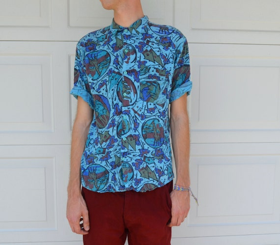 Blue Abstract Vintage Hipster Button Up Shirt by ...