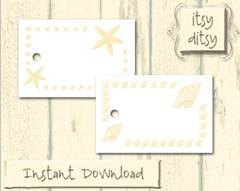 Printable Beach tags - Beach wedding favor tag -Digital wedding Shell & Starfish-Beach printable favour tags - place cards -Instant Download