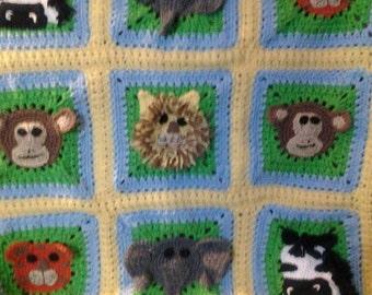Crocheted Jungle Baby Afghan Blanket