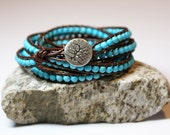Turquoise Leather Beaded Wrap Bracelet - Wraps 4 - 5 times