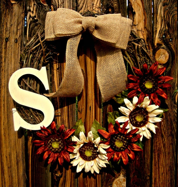 Monogram Front Door Decoration: Items Similar To Monogrammed Sunflower Wreath For Fall