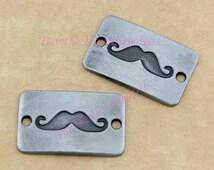 10 PCS, Mustache Connector, Rectangular Plate, Mustache Charm, Mustache Pendant, Gun-metal Tone, Jewelry Making Supplies, Findings, 27*17MM