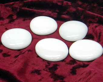 25 Large White Opal Glass Gems Victory 2360