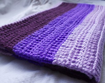 For The Love Of Purple Crocheted Baby Blanket/ Photo Prop