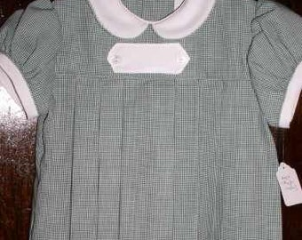 Hunter Green and White Micro Check Dress size 1T (12 month)