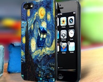 Starry Night Tardis iPhone 4, 4s, 5, 5s, 5c, 6/6s, 6/6s Plus Samsung Galaxy s3 s4 s5 s6 s7 Note 2 3 4 5 Moto G, Moto X Cell Phone Case
