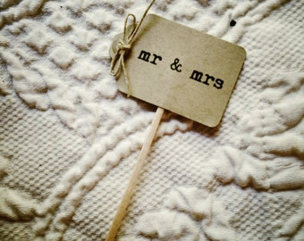 Rustic Mr and Mrs Wedding Cupcake Toppers | 12 | Rustic Wedding Cupcake Toppers | Engagement Party Decor | I Do Cupcake Toppers | Burlap