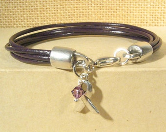 Pancreatic Cancer Awareness Bracelet - Purple 4-Strand 2mm Round Bracelet with Lobster Clasp (2M-017)