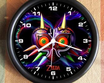 LEGEND OF ZELDA Majoras Mask Blue Big 10 inch black wall clock  Ships Tomorrow
