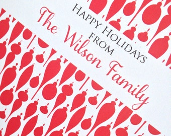 Christmas Card, Holiday Card Set, Personalized Christmas Cards - Holiday Ornaments Pattern