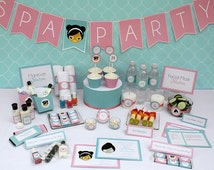 Spa Birthday Party Printable Collection & Invitation - Editable PDF file - Print at home