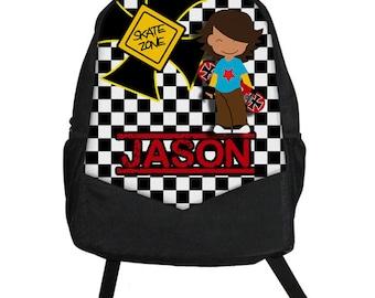 Custom Personalized Skater Boy Skateboard Kids Boy Backpack tote School Camp Monogram