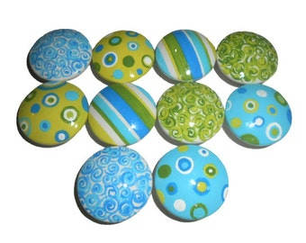 10 Custom Circle, Stripe, & Swirl Hand Painted Drawer Pulls Knobs