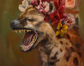 Fine Art Print of Hyena with Flower Crown