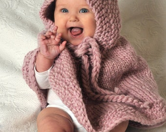Knitted Baby Poncho Hood Pattern : Popular items for knit baby poncho on Etsy