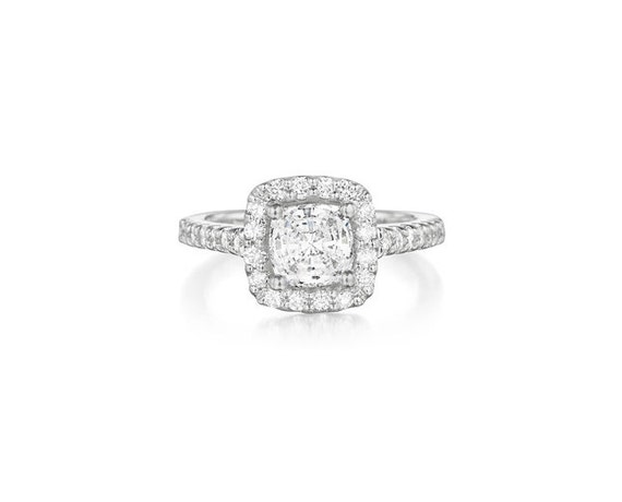Square Cushion Diamond Engagement Ring 1.60 Carat 14K White Gold or Yellow Gold - FREE US SHIPPING