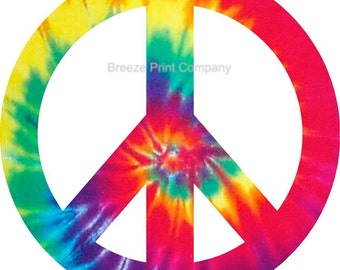 Tie dye peace sign removable vinyl wall decal girls room decor