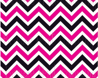 Chevron patterned sticky craft vinyl sheet 12x18+ magenta pink, black and white zig zag -  3 mil decal Cricut  Silhouette DV66