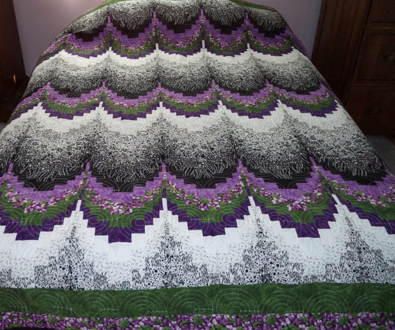 Bed Quilt Purple Black And White Bargello Queen Or Full
