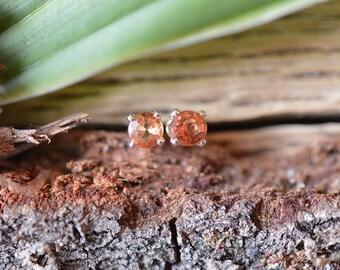 Orange Sapphire Stud Earrings, Sapphire Earrings, Sterling Silver Stud Earrings, 3mm Studs