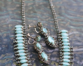 "Vintage Turquoise color ""Tiger eye"" moonglow glass necklace and earrings"