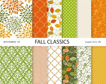 Autumn Digital Paper Pack - Autumn Digital Papers - Digital Paper Pack Fall colors, 12 digital papers - BR 199