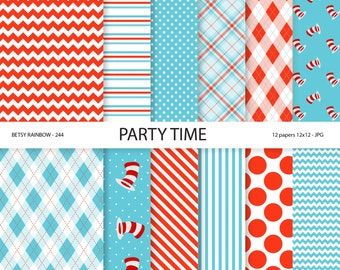 Dr. Seuss inspired paper pack in red and aqua blue, red and blue party paper, scrapbook paper, digital backgrounds - BR 244