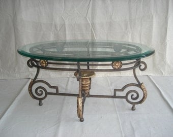 Vintage Wrought Iron Table with Beveled Glass Top