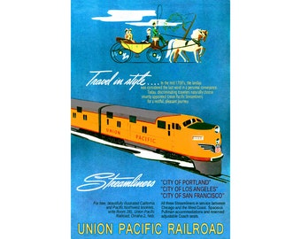 "UNION PACIFIC Streamliners - Los Angeles San Francisco New Retro Deco Railroad Poster Art Print - Available in 4 sizes up to 24"" x 36"" - 220"